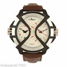 New Forest Brand Leather Belt White Dial Dual TIME MEN'S Watch In BOX PACKING