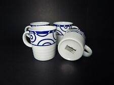 Crate & Barrel Mugs White Ribbed Spal Porcelain with Blue Set of 4