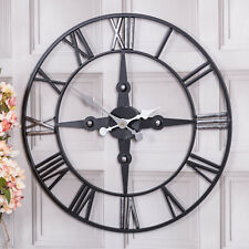 Large Black Skeleton Metal Wall Clock Roman Numerals Hallway Bedroom Home