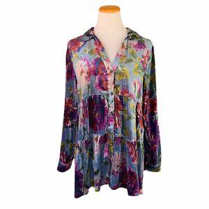 Maeve Anthropologie Reverie Tiered Velvet Tunic Blouse Size M Medium Floral Top