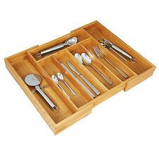 Bambus Besteckkasten ausziehbar Besteckeinsatz Schubladeneinsatz Holz Besteckbox