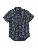 Outerknown Mens Constellation Camp-Collar Print Organic Cotton Shirt Small Navy