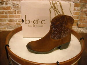 Born Brown Suede Studded Ambrosia Western Ankle Boots 7.5 NEW