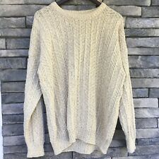 Gaeltarra Mens sweater L Irish linen cotton pullover fisherman beige New cable