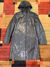 'S Max Mara Women's Black Leather Long Jacket Coat Hood Size 12