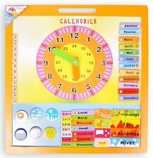 Calendario magnético de madera 45 x 42 cm Reloj Día Meses Juegos juguete Niño