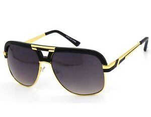 Men Sunglasses Gazelle Square Design Black Brown Lens Gold Bar Frame Fashion New