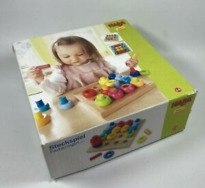 HABA Rainbow Whirls Pegging Game Beech Wood Colorful Stacking Germany