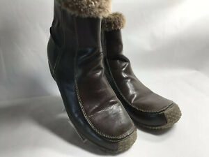 Sporto Brown Faux Fur Winter Boots Womens Size 10 M Maggie Side Zip