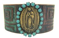 Our Lady of Guadalupe Medal w Stones Southwest Style Bronze Tone Cuff Bracelet