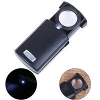 30X Lente ingrandimento Pieghevole + luce LED per Orologi di Gioielli PortatiliT