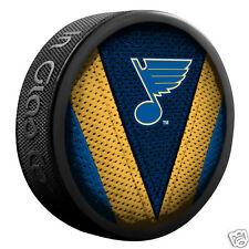 "ST. LOUIS BLUES ""Stitch"" Series Team Logo Model SOUVENIR PUCK NEW In Glas Co"