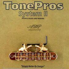 TonePros T3BP-G CHEVALET STANDARD TuneOmatic Bridge SMALL POSTS Notched Saddles