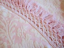 "Vintage Bates Pink Round Table Cloth 88"" Textile  Tassel Fringe Pink and Cream"