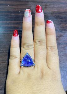 NATURAL TANZANITE 14X14 SAPPHIRE DIAMOND CUT STERLING SILVE 925 RING