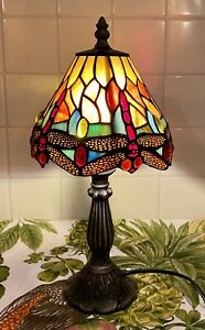 Small Tiffany Style Table Lamp Modern Base Bright Vivid Glass Shade