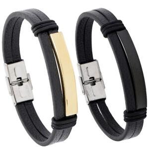 Punk Men Stainless Steel Black Brown Leather Bracelet Bangle Wristband Cuff Wrap