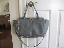 NWT $2495 VALENTINO medium Rockstud Trapeze Grey Blue smooth leather tote bag