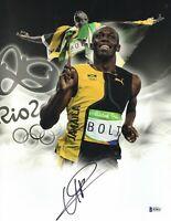 JAMAICA USAIN BOLT SIGNED 2009 SUMMER OLYMPICS 'JAMAICA' 11X14 PHOTO BAS COA 1