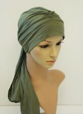 Turban with ties , chemo head wear, full head covering, alopecia, hair loss