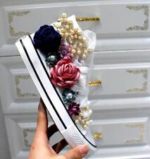 Womens Floral Top Decor Lace Up Casual Sneakers Ankle Boots Bead Shoes Stylish