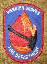 WEBSTER GROVES FIRE DEPT MISSOURI FIRE/RESCUE DEPARTMENT PATCH!