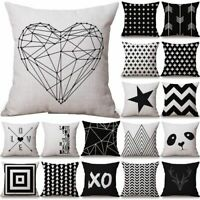 Black White Grey Geometric Waist Throw Cushion Cover Pillow Case Home Decor 18''