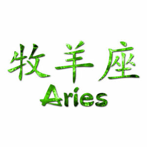 Aries Chinese Symbols - Vinyl Decal Sticker - Multiple Patterns & Size - ebn2574