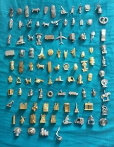INDIVIDUAL METAL MONOPOLY GAME SILVER AND GOLD TOKENS / PIECES / SPARES