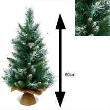 60cm Table Top Snowy Christmas Tree with Burlap Base Indoor Use - TR200BB