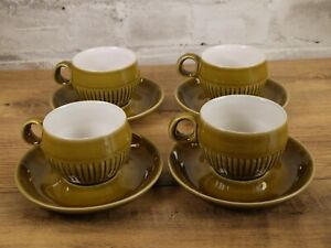 4 Vintage Denby Langley Patrician Gold Cup and Saucers