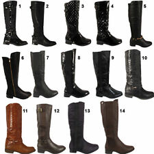 Women's 100% Leather Cuban Knee High Boots Casual Shoes