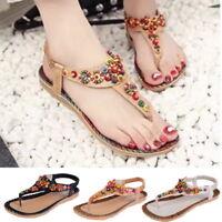 Women Summer Sandals Bohemia Peep Toe Beach Flat T-Strap Shoes Flip Flops CI