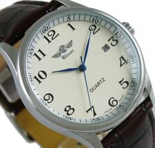Classic Mens Automatic Mechanical Brown Leather Luxury Wrist Watch Day Calendar