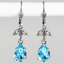 Ohrringe Ohrhänger Silber Altsilber Swarovski Kristall Tropfen – Aquamarin blau