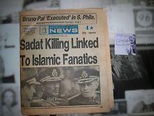 Philadelphia Daily News October 7 1981 Sadat Killing  COMPLETE