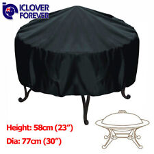 77x58cm Patio Round Fire Pit Cover Waterproof UV Protector Grill BBQ Cover Black