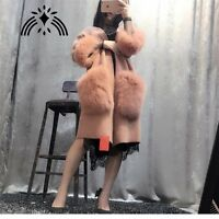 womens long 100%Real mink cashmere with fox fur pocket sweater ladies cardigan T