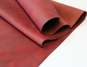 RED DISTRESSED LEATHER HIDE Thickness 1.6-1.8 mm/ 4 oz - 4.5oz 18 SqFt