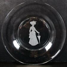 1971 Avon Lady Gibson Girl Etched Glass Christmas Holiday Plate Sales Rep Gift