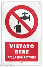 """Cartello vinile 4 fori """"Vietato Bere - Acqua non potabile"""""""