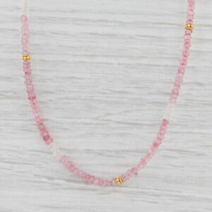 New Nina Nguyen Pink Topaz Bead Necklace Sterling Gold Vermeil Adjustable Layer