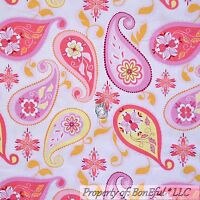 BonEful FABRIC FQ Cotton Quilt Pink Orange Yellow White Large Paisley FLOWER Dot