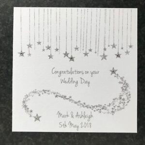 Personalised Handmade Wedding Day Card ~ Modern ~ Congratulations