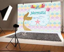 Golden Glitter Mermaid Photography Backdrops Photo Studio Background Vinyl 5x3Ft