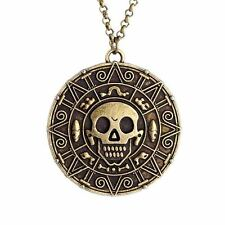 """Pirates of the Caribbean Jack Sparrow AZTEC COIN Bronze Finish PENDANT 18"""" Chain"""