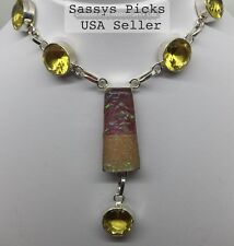 Handmade Bi-color Triplet Opal And Citrine Necklace marked 925 Sterling Silver