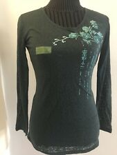 Womens Shirt NWOT Earth Yoga M Teal Flowers Jewels Longsleeved Tee Shirt