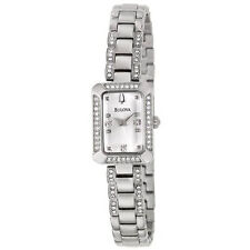 BULOVA DRESS SILVER DIAL CRYSTALS STAINLESS STEEL WOMEN'S WATCH 96X118 NEW