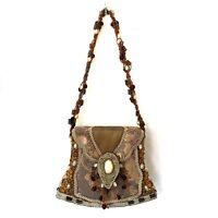 Mary Frances Bag Purse Mini Handbag Evening Beaded Floral Brown Satin Clutch Tan
